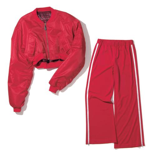 <左から>赤ショート丈MA-1 10,800 円+ 税/FIG&VIPER 赤サイドジップジャー ジパンツ 9,800 円+税/KAWI JAMELE(LTN)