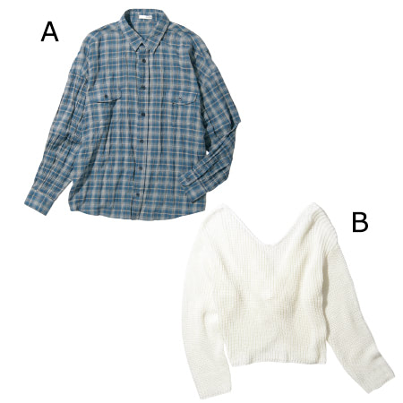 〈A〉ブルーチェックシャツ 7,990円+税/GYDA渋谷109店 〈B〉白バックツイストニット 5,490円+税/FLOVE