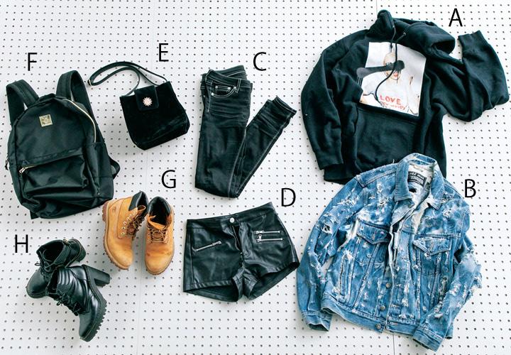 〈A〉DLSMのフーディ 〈B〉COTE MERのGジャン 〈C〉GYDAの黒スキニー 〈D〉H&Mのレザーショーパン 〈E〉EVRISのバッグ 〈F〉neweraのリュック 〈G〉ティンバーランドのブーツ 〈H〉マーチン