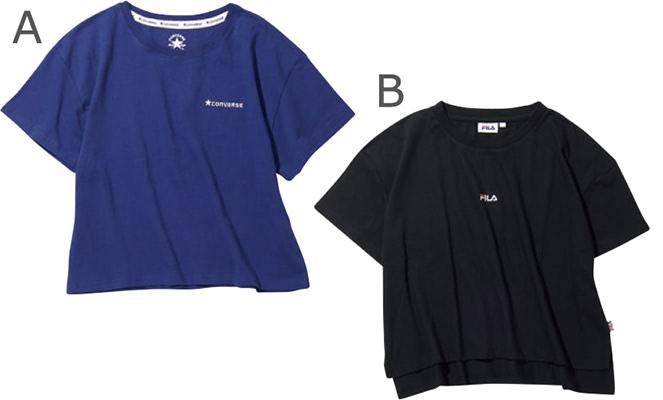 A.ブルーコンバースTシャツ 1,599円+税/スピンズ B. 黒フィラTシャツ 1,998円+税/スピンズ