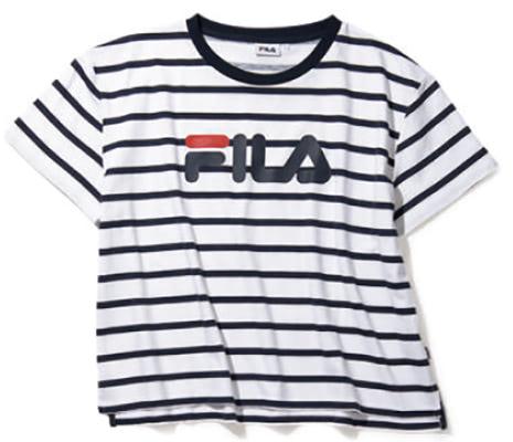 ゆるっとしたサイズ感。ボーダーロゴTシャツ 3,500円+税/FILA(フィラ カスタマーセンター)